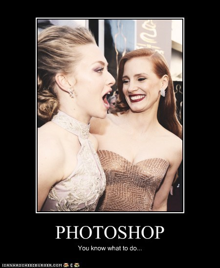 Amanda Seyfried photoshop Jessica Chastain mouth oscars 2013