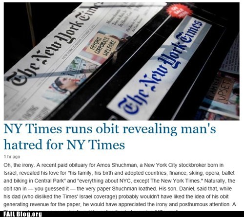 news,new york times,obituary,irony