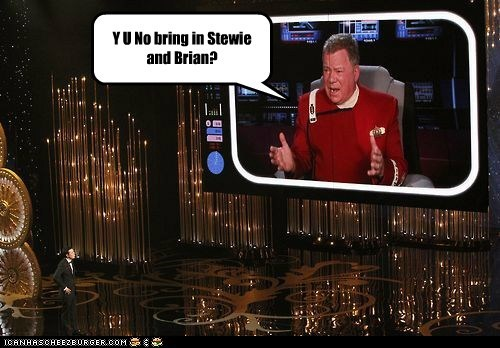 brian griffin Y U NO Seth MacFarlane stewie griffin William Shatner oscars 2013 - 7100990464