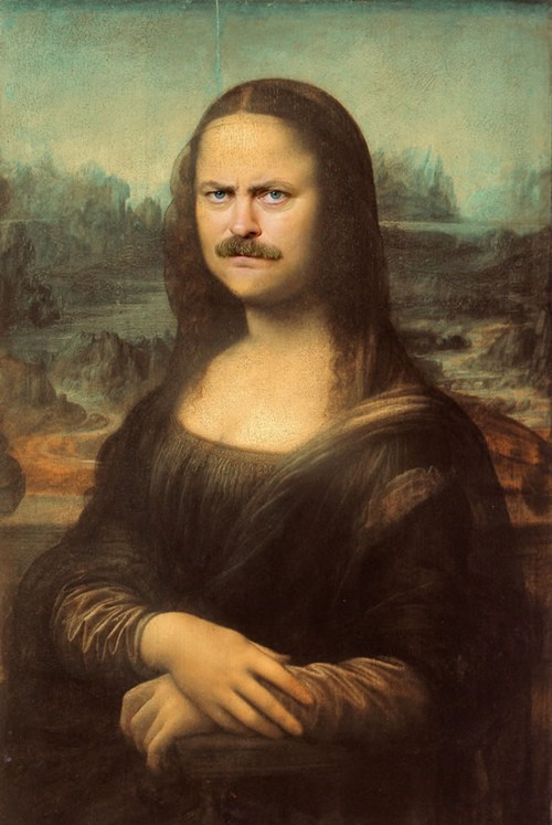 mona lisa,ron swanson,Nick Offerman,painting,shopped pixels