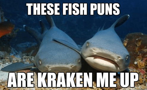 picture of laughing sharks and caption about funny fish puns