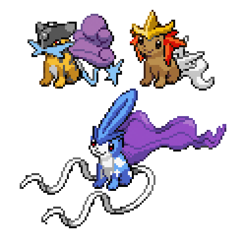 eeveelutions pokemon fusion eevee legendary trio - 7101497344