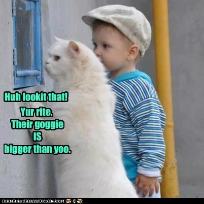 Yur rite.  Their goggie  IS  bigger than yoo.