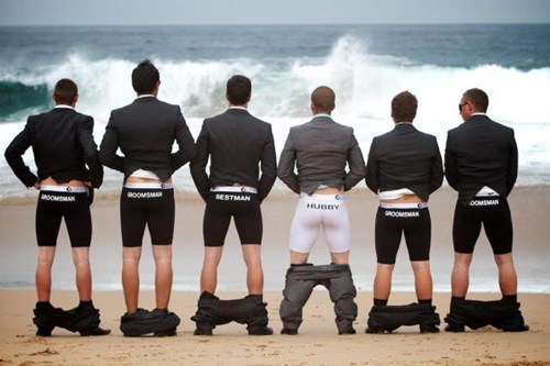 Groomsmen beach butts underwear