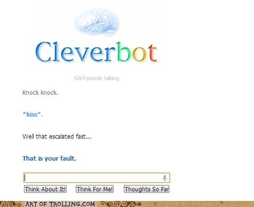 kissing,Cleverbot,knock knock jokes