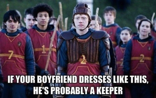 boyfriend,outfit,attire,Harry Potter,uniform,dress,double meaning,keeper,quidditch