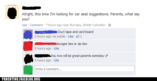 car seats facebook advice