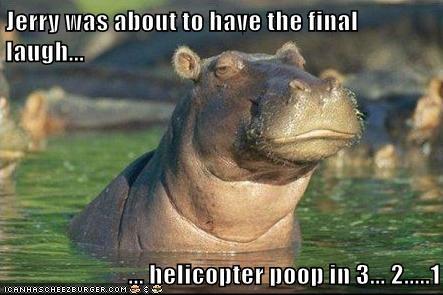 poop,revenge,helicopter,argument,hippopotamus