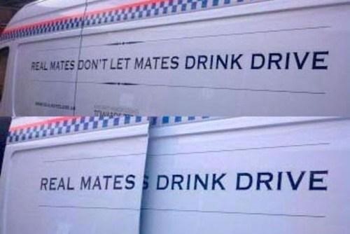 sign,whoops,van,drink and drive,genius