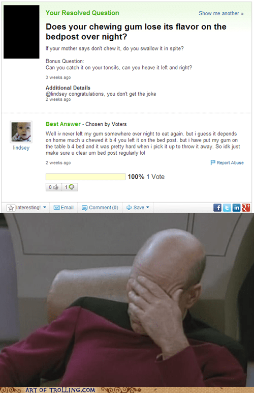 gum yahoo answers gross facepalm - 7102470656