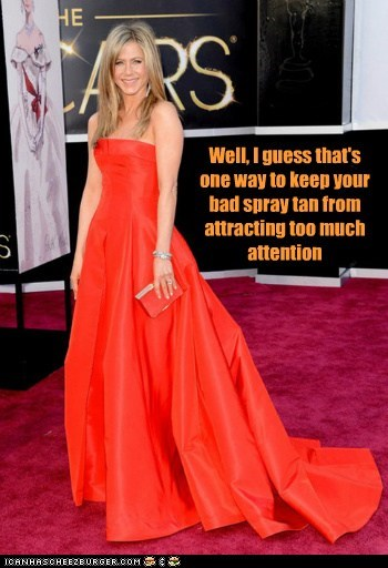orange spray tan jennifer aniston dress oscars
