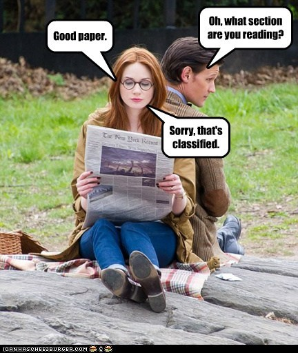 classified,karen gillan,the doctor,puns,Matt Smith,doctor who,amy pond,newspaper