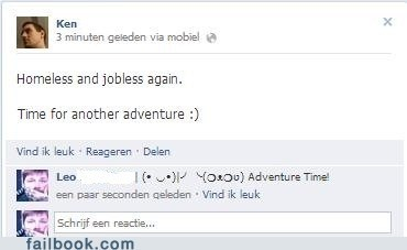 homeless,jobless,adventure time,failbook,g rated