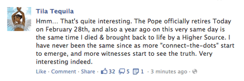 tila tequila,conspiracy theories,pope benedict