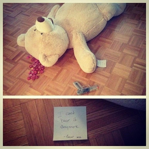 crime scene unbearable note bear homophone