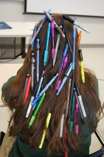 hair,stuck,pencils