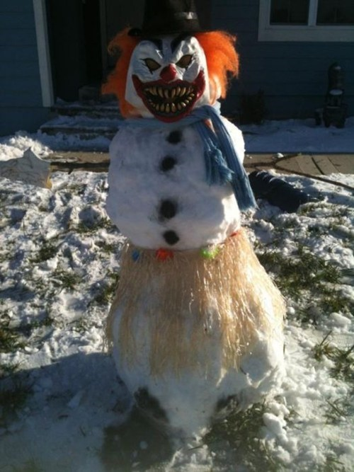 clown,creepy,snowman