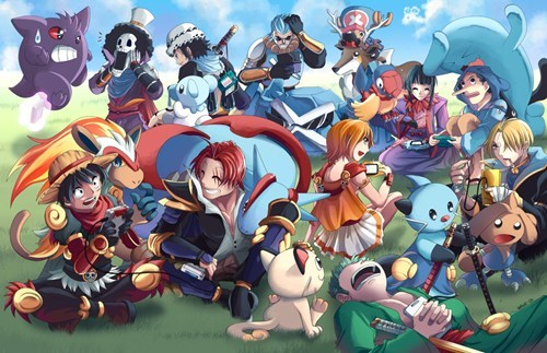 crossover,Pokémon,Fan Art,one piece