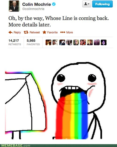 twitter,puke rainbows,whose line is it anyway