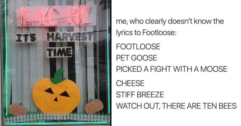 Random memes cover image pumpkin at a daycare, wrong lyrics to footloose