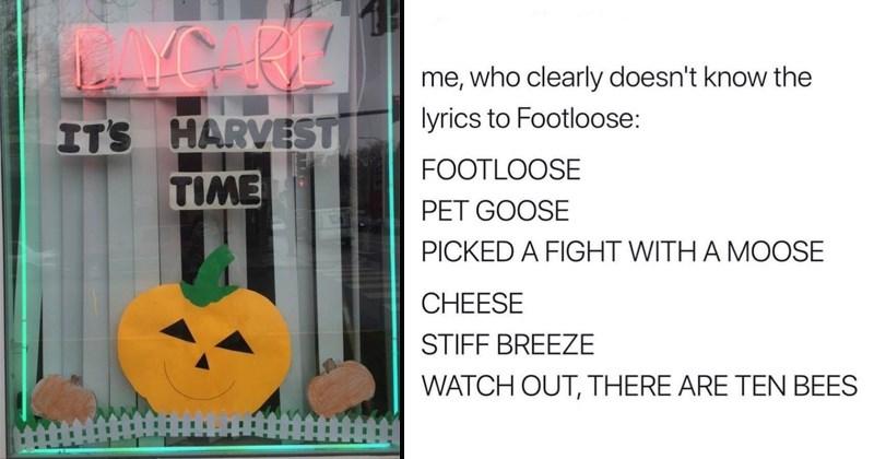 Random memes cover image pumpkin at a daycare, wrong lyrics to footloose
