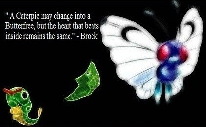 "Wing - ""A Caterpie may change into Butterfree, but the heart that beats inside remains the same.""- Brock"