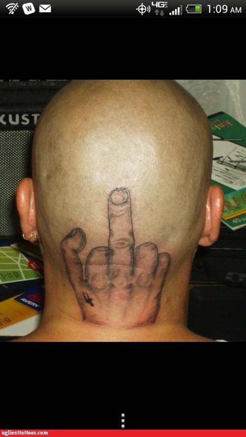 middle fingers head tattoos - 7105708288