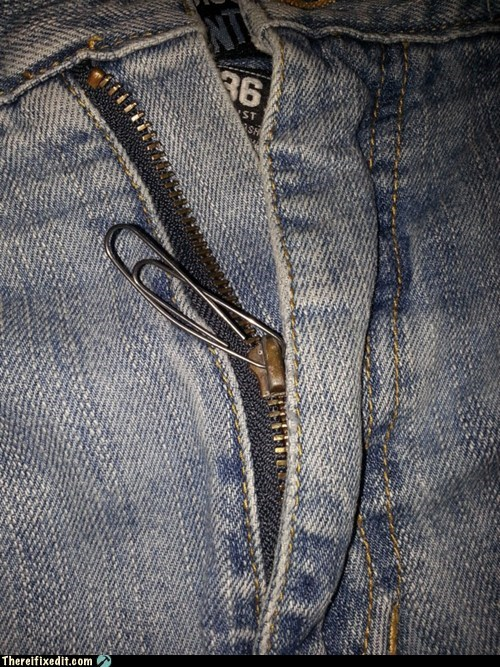 jeans fly zipper paperclip