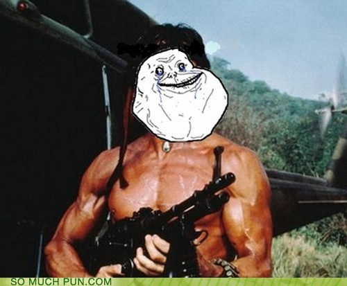 forever alone,rambo,shoop,similar sounding,Sylvester Stallone