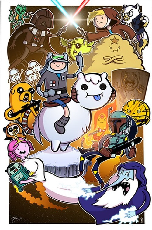 mashup,star wars,Fan Art,Empire Strikes Back,adventure time