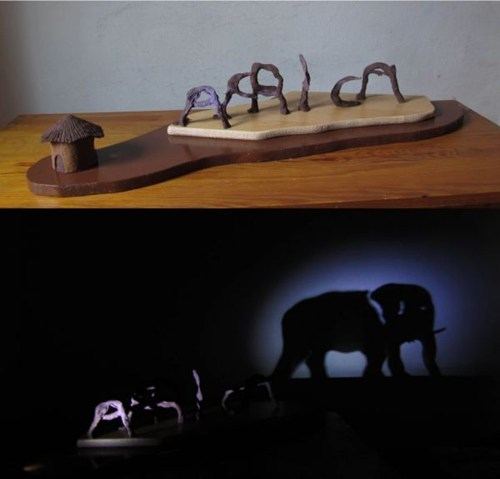 africa,elephants,shadow art