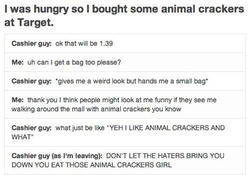 haters gonna hate,bag,animal crackers
