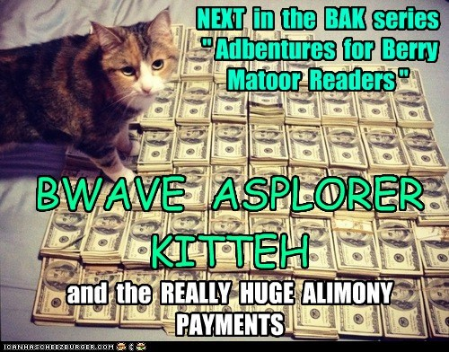 """NEXT in the BAK series """" Adbentures for Berry Matoor Readers """" BWAVE ASPLORER KITTEH and the REALLY HUGE ALIMONY PAYMENTS"""