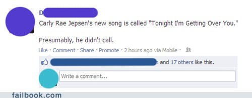 carly rae jepsen,call me maybe,dating,failbook,g rated