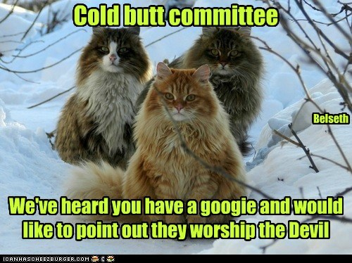 Cold butt committee We've heard you have a googie and would like to point out they worship the Devil Belseth