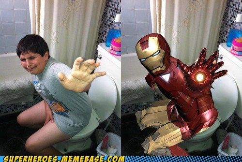 kid,photoshop,iron man,toilet