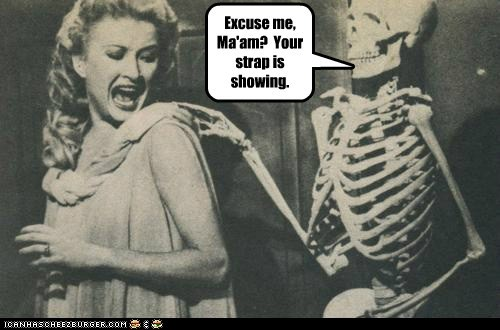 bra straps,woman,skeleton,embarrassin