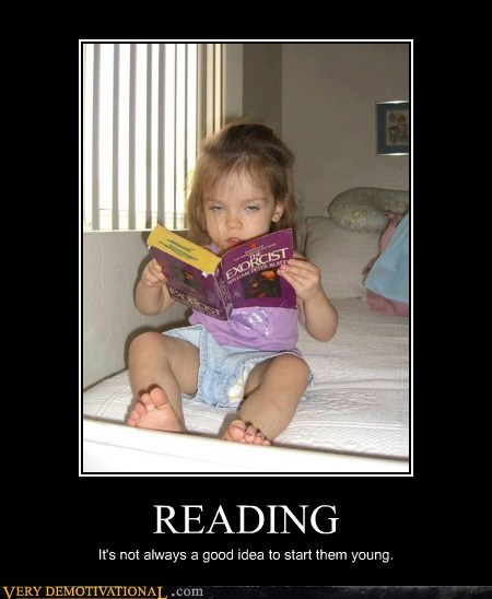 scary kid reading exorcist