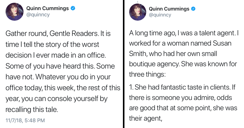 Funny twitter thread about a boss from hell, susan smith, @quinncy.