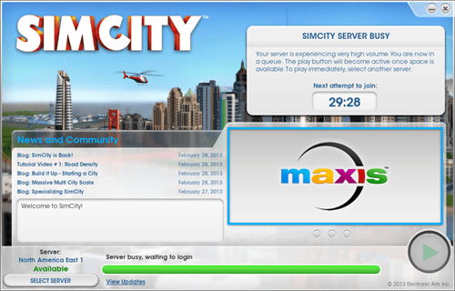 servers gaming overflow always online EA sim city single player