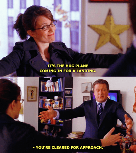 30 rock,plane,TV,hug
