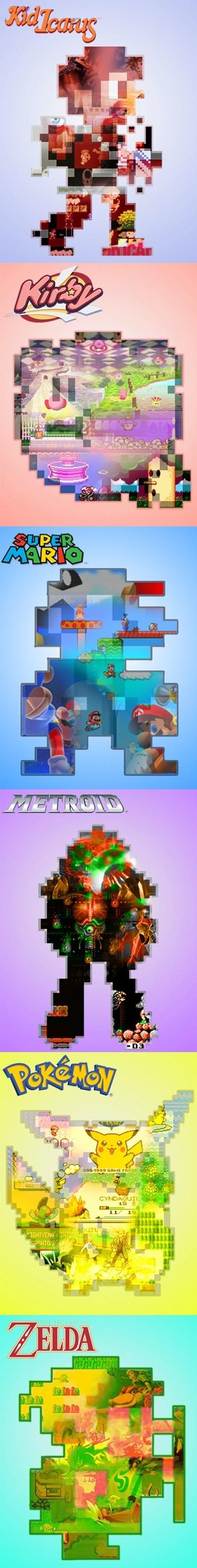Pokémon retro kirby Metroid posters kid icarus 8 bit zelda mario nintendo