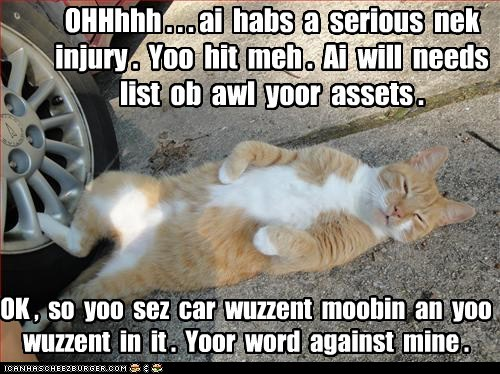 OHHhhh . . . ai habs a serious nek injury . Yoo hit meh . Ai will needs list ob awl yoor assets . OK , so yoo sez car wuzzent moobin an yoo wuzzent in it . Yoor word against mine .