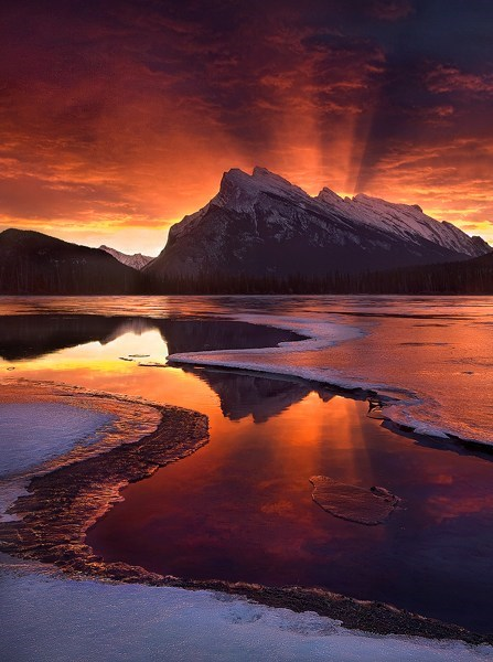 landscape,mountains,winter,sunset