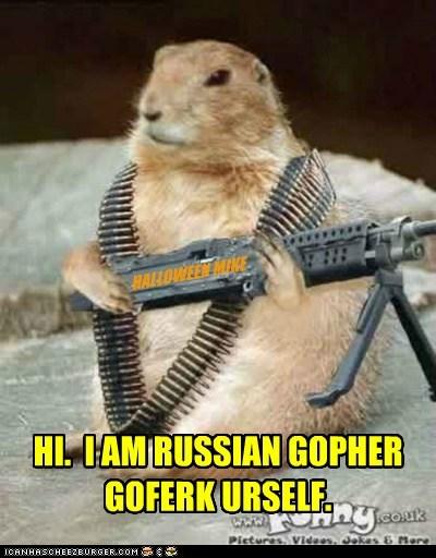 HI. I AM RUSSIAN GOPHER GOFERK URSELF. HALLOWEEN MIKE