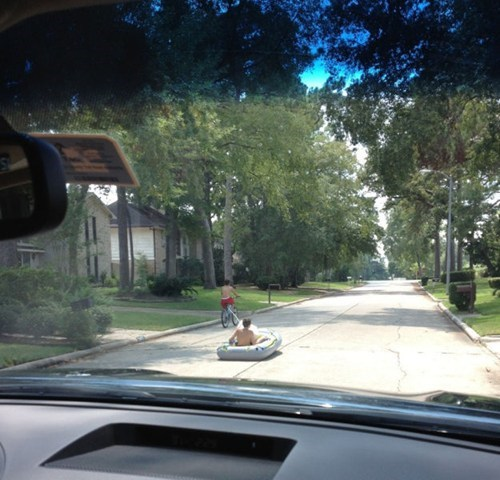 dinghy,bike rides,playing in the street
