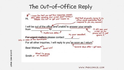 out of office comics emails phd comics