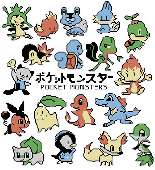 Pokémon,art,starters,pocket monsters,pixel