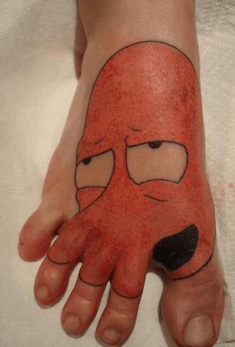 futurama,foot tattoos,Zoidberg,g rated,Ugliest Tattoos