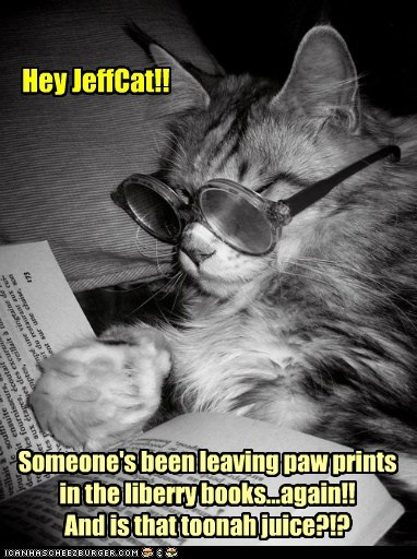 Hey JeffCat!! Someone's been leaving paw prints in the liberry books...again!! And is that toonah juice?!?